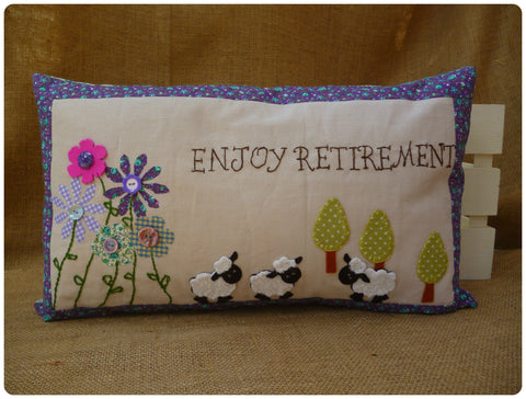 Enjoy Retirement Sheep Cushion