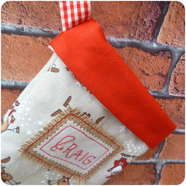 Personalised Santa Stocking, Red cuff close up