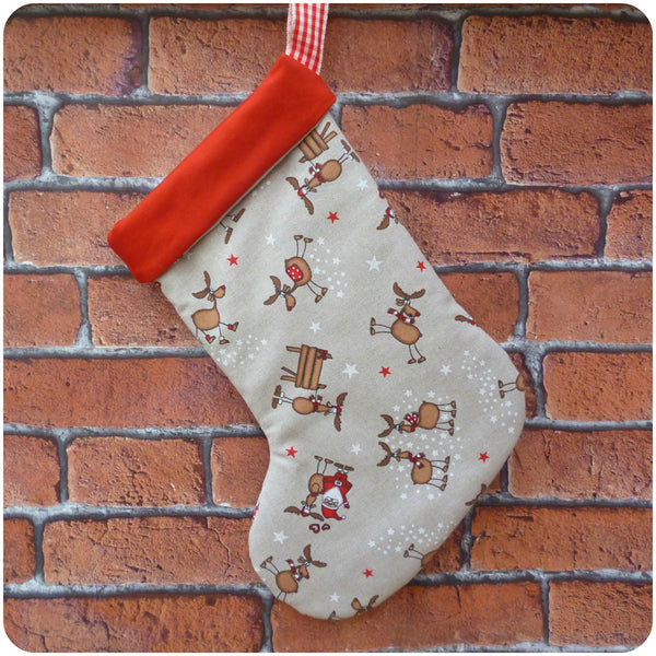 Personalised Santa Stocking, Father Christmas and Reindeer fabric with red linen lining, back view
