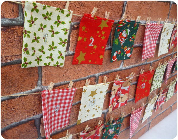 Fabric Advent Calendar Christmas Countdown, Santa, Teddy and Star