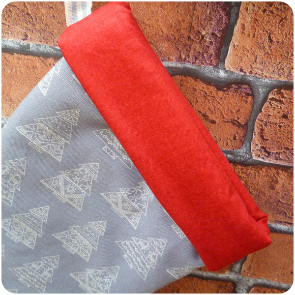 Personalised Scandi style Christmas stocking, red cuff close up
