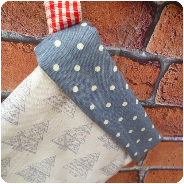 Personalised Nordic style Christmas stocking, grey polka dot cuff close up