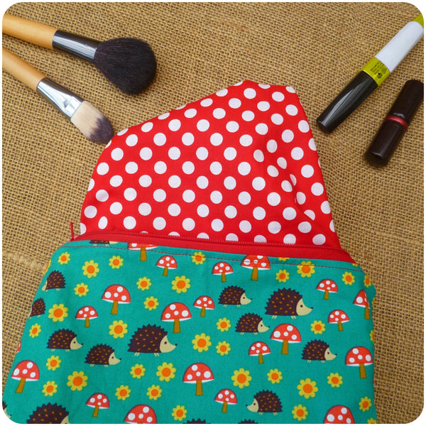 Hedgehog Make Up Bag, Lining