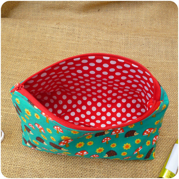 Hedgehog Make Up Bag, Lining Close Up
