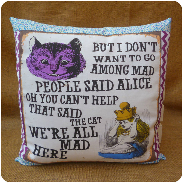 Vintage Alice In Wonderland Cushion featuring Alice and the Cheshire Cat Front View