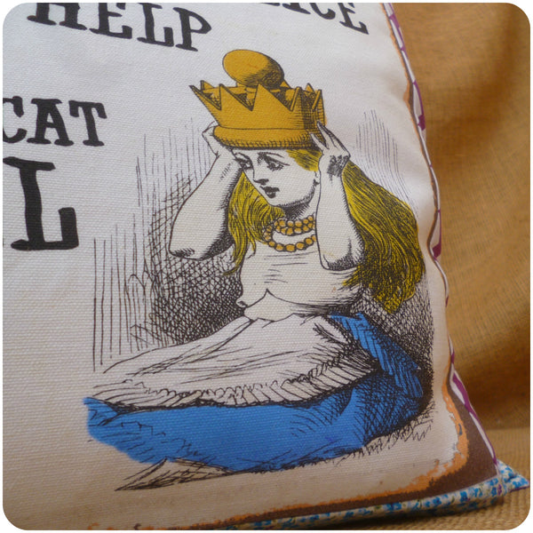 Vintage Alice In Wonderland Cushion, Alice Close Up
