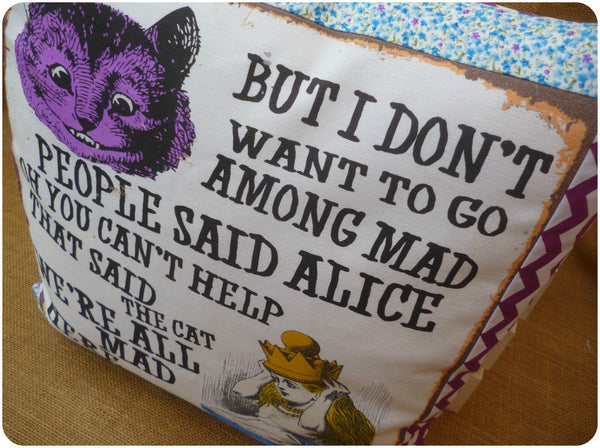 Vintage Alice In Wonderland Cushion, Alice and Cheshire Cat Quote Close Up