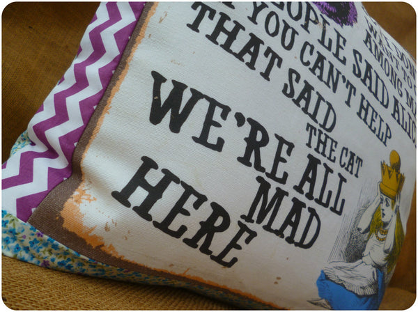 Vintage Alice In Wonderland Cushion, Alice and Cheshire Cat Quote Close Up, We're All Mad Here