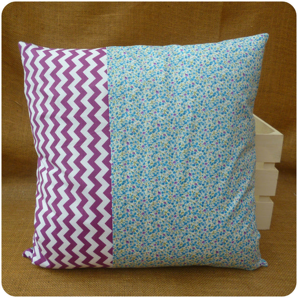 Alice in Wonderland Alice and Cheshire Cat Cushion, Back View, Blue Ditsy floral and purple chevron fabrics