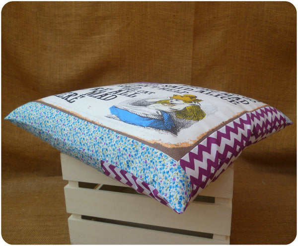 Alice in Wonderland Alice and Cheshire Cat Cushion, Border View, Purple Chevron and Blue Ditsy Floral Fabrics