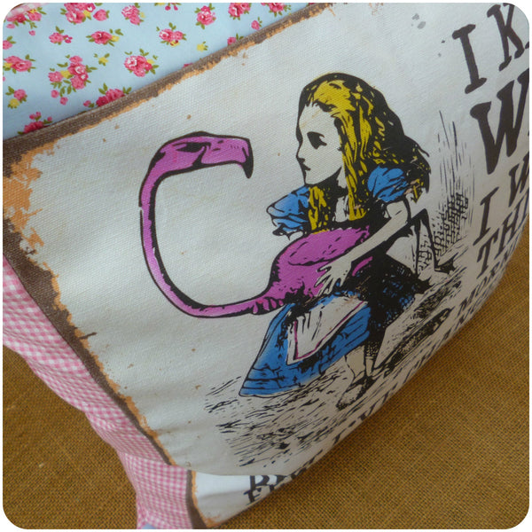 Alice in Wonderland Flamingo Cushion, Illustration close up of Alice and the flamingo