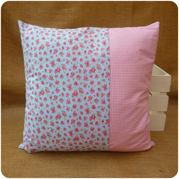 Alice in Wonderland Flamingo Cushion Back, envelope opening with blue floral and pink gingham fabrics