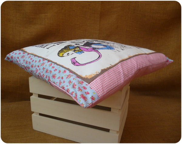 Alice in Wonderland Flamingo Cushion, view from edge, blue floral and pink gingham fabrics