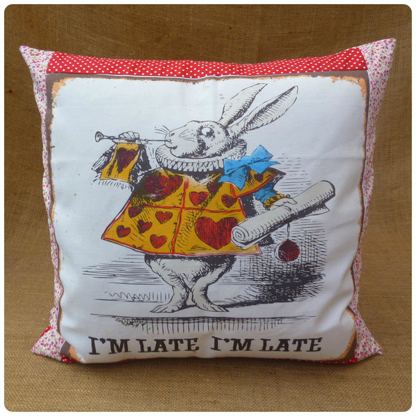 White Rabbit Alice Cushion