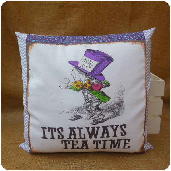 Alice in Wonderland The Mad Hatter Cushion, Front view, illustration with purple floral and grey chevron fabric borders