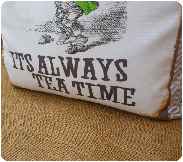 Alice in Wonderland The Mad Hatter Cushion, Tea party quote close up