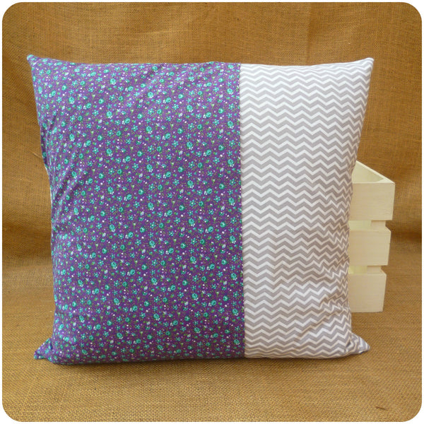 Alice in Wonderland The Mad Hatter Cushion, cushion back with envelope opening in purple floral and grey chevron fabrics