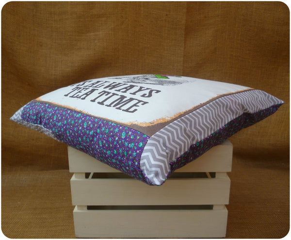 Alice in Wonderland The Mad Hatter Cushion, corner view of purple floral and grey chevron border fabrics