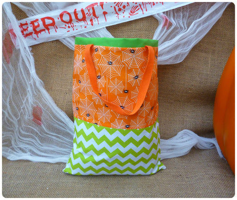 Personalised Halloween Spider Bag, Front View, Orange and Green