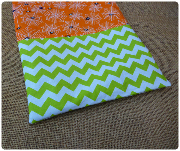 Personalised Halloween Spider Bag, Green Chevron Fabric Close Up