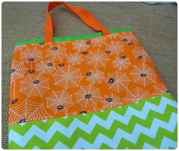 Personalised Halloween Spider Bag, Orange Spiders Fabric Close Up