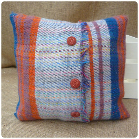 Orange and Blue Tartan Cushion