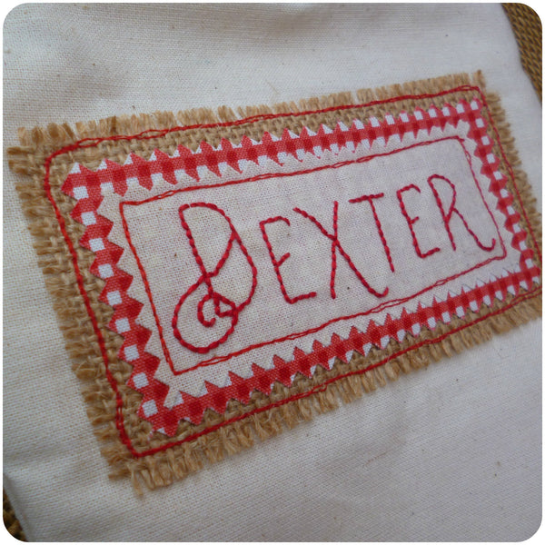 Personalised calico Christmas stocking, personalisation close up