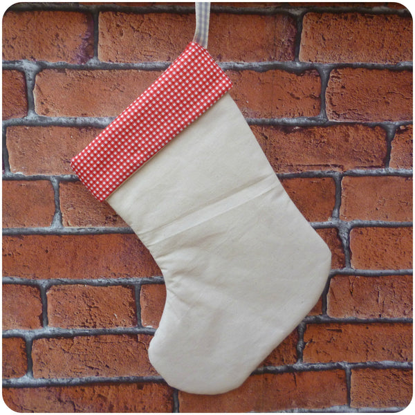 Personalised calico Christmas stocking with red gingham lining, back view