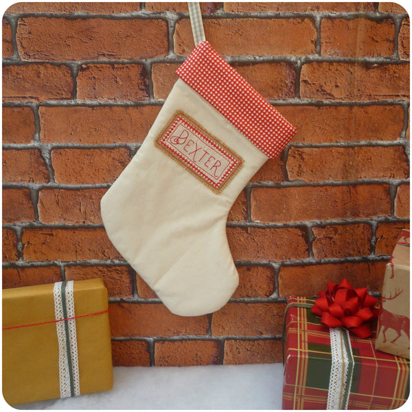 Personalised Gingham Christmas Stocking