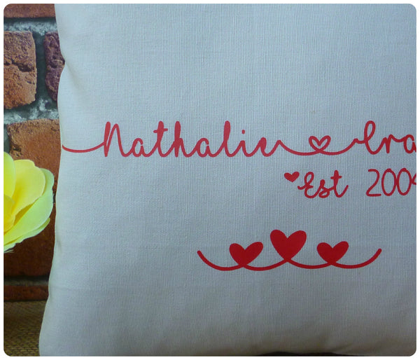 Personalised Couples Cushion (Choice of colours available)