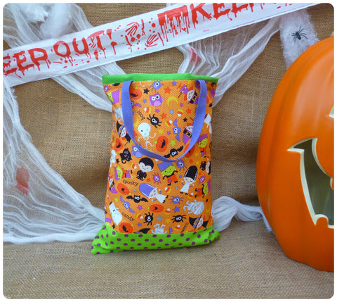 Spooky Halloween Goodie Bag, Front View, Orange, Purple and Green