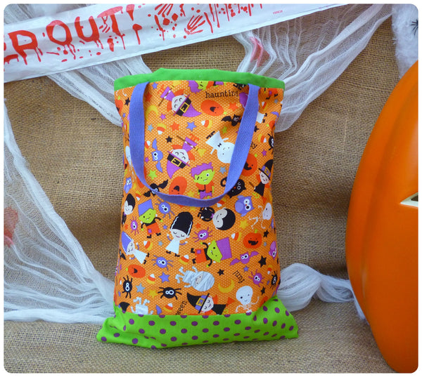 Spooky Halloween Goodie Bag, Back View, Orange, Purple and Green