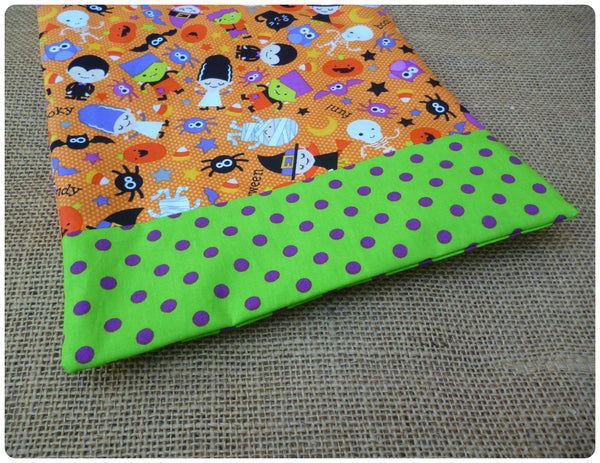 Spooky Halloween Goodie Bag, Green and Purple Polka Dot Fabric Close Up