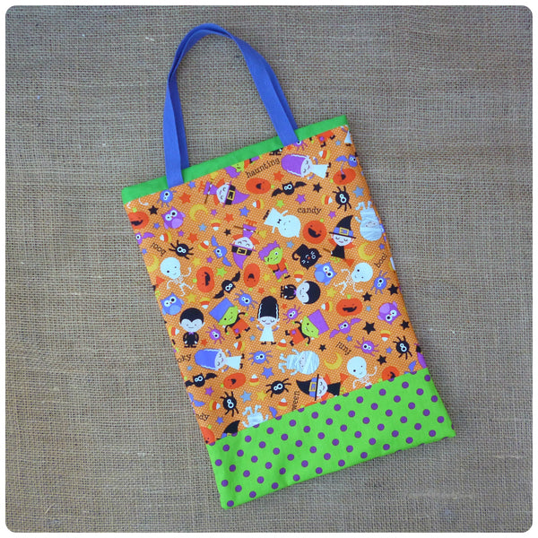 Spooky Halloween Goodie Bag, Flat Lay, Orange, Purple and Green