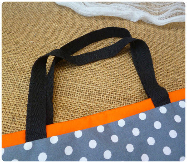 Personalised Pumpkin Treat Bag Close Up Black Handles, grey polka dot fabric