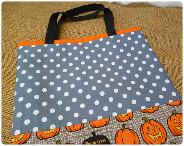 Personalised Pumpkin Treat Bag Grey Polka Dot Fabric Close Up