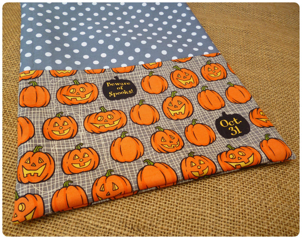 Personalised Pumpkin Treat Bag Front View, Grey Pumpkin fabric close up