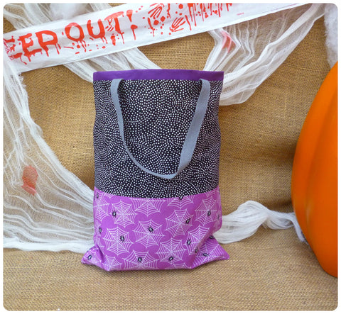 Personalised Halloween Spiders Bag, Front View, Purple and Black