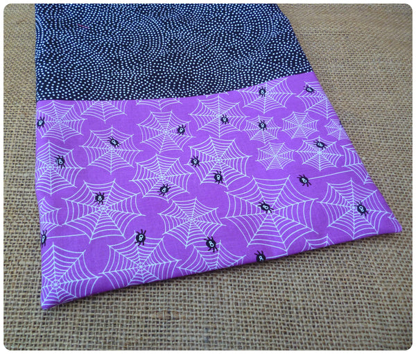 Personalised Halloween Spiders Bag, Purple Spiders Fabric Close Up