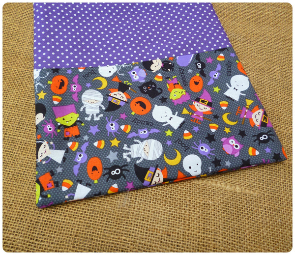 Personalised Halloween Treat Bag, Close Up of Grey Halloween Costumes Fabric