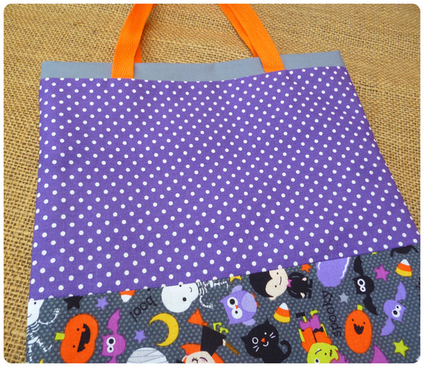 Personalised Halloween Trick or Treat Bag, Purple Polka Dot Fabric Close Up