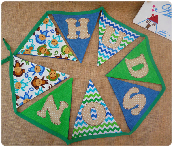 Monkey Bunting (Can be Personalised)