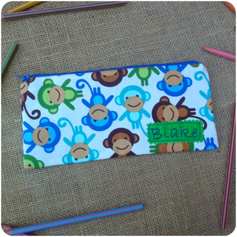 Monkey Pencil Case (Can be Personalised)