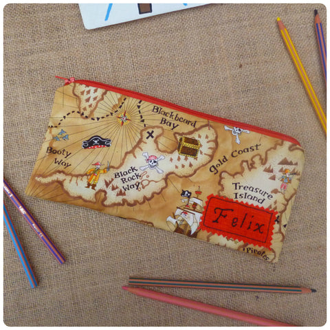 Pirate Treasure Map Pencil Case (Can be Personalised)