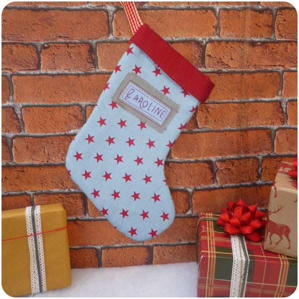 Traditional Personalised Christmas Stockings, Christmas Stars Stocking