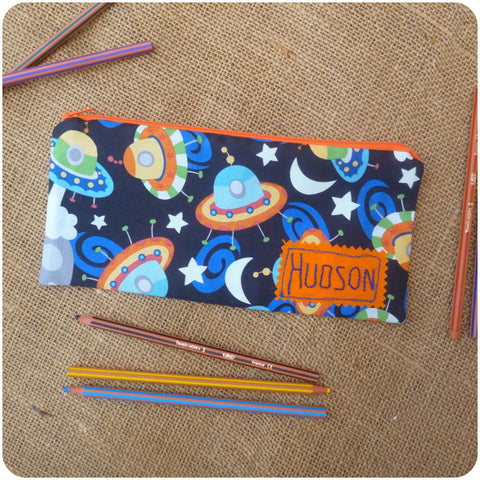 Personalised Pencil Case for Kids, UFOs Pencil Case Pouch Front View
