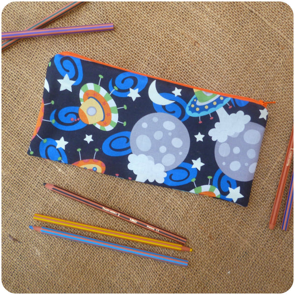 Personalised Pencil Case for Kids, UFOs Pencil Case Pouch Back View