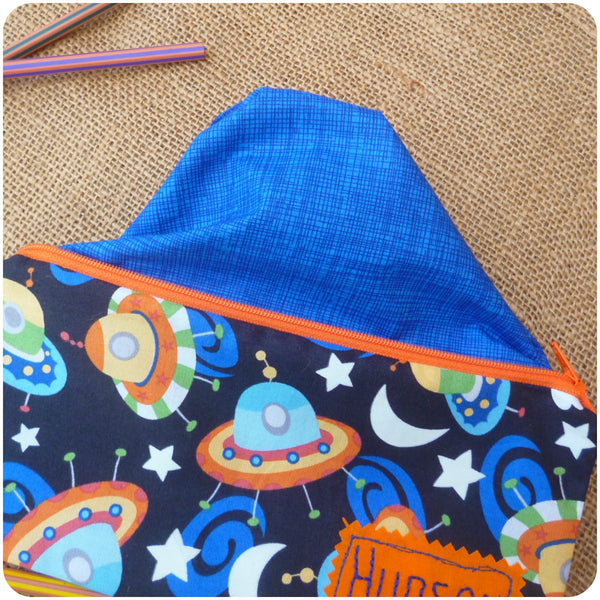 Personalised Pencil Case for Kids, UFOs Pencil Case Pouch, Lining