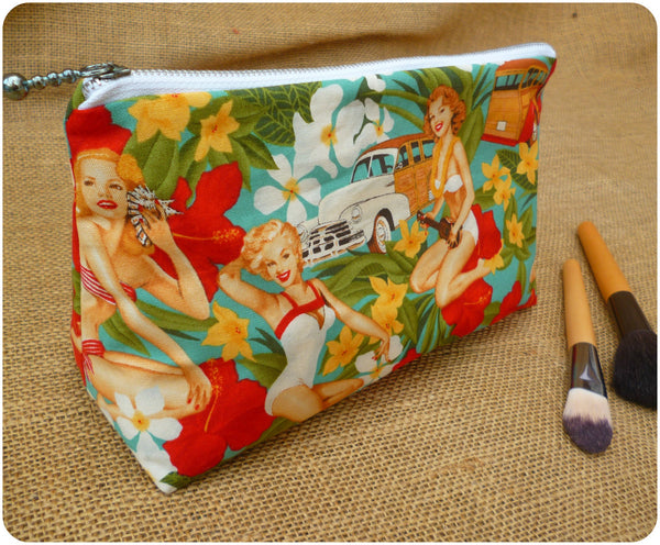 Pin Up Girl Cosmetic Bag, Front View Close Up