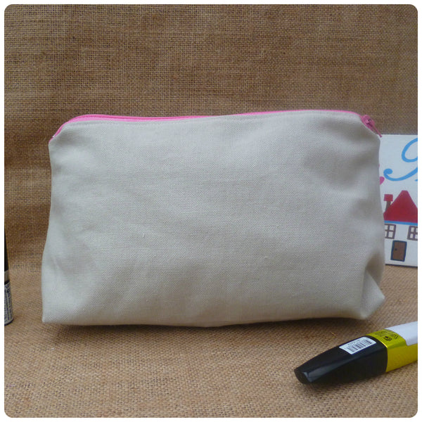 Linen Flowers Make Up Bag (Choice of Colours)